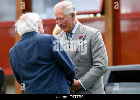 The Prince of Wales, accompanied by the President of Ireland and his wife Sabina Coyne, visit Glencree Peace and Reconciliation Centre in Glencree, Co Wicklow, on the first day of the Royal couple's visit to Ireland. - Stock Image