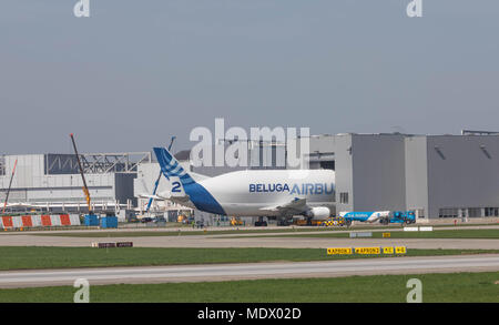 Hamburg, Germany - April 17, 2018:  Airbus Beluga A300-600ST Number 2 unloading at the Airbus Plant in Hamburg Finkenwerder - Stock Image