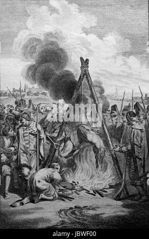 Adrian Chalinsky a protestant clergyman roasted alive by slow fire in the Great Duchy of Lithuania; Engraving from - Stock Image