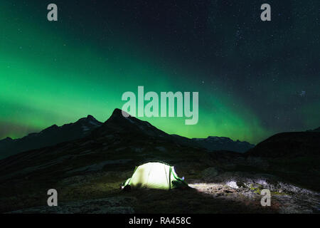 Aurora in Tupassat area, South Greenland - Stock Image