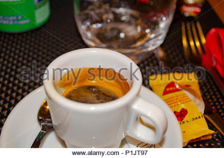 A fresh cup of espresso in France - Stock Image