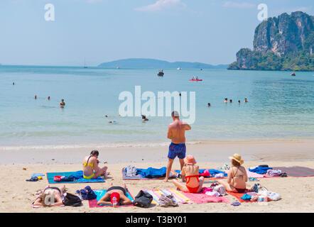 Railay West Beach, Railay, Krabi province, Thailand - Stock Image