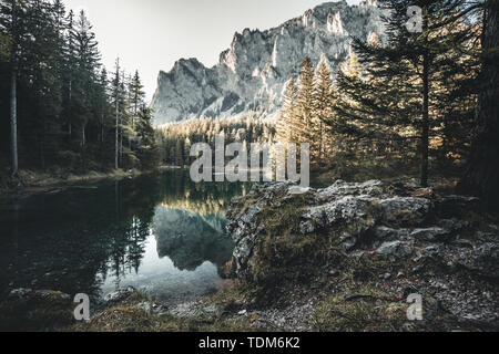 A beautiful lake called Green Lake in Austria in summer during the golden hour - Stock Image