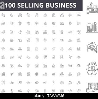Selling business line icons, signs, vector set, outline illustration concept  - Stock Image