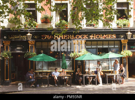 The Sherlock Holmes Pub Northumberland Street London - Stock Image