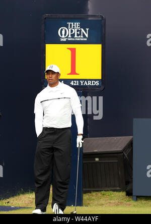 Portrush, County Antrim, Northern Ireland. 19th July 2019. The 148th Open Golf Championship, Royal Portrush, Round Two ; Tiger Woods (USA) prepares to hit his tee shot on the first hole Credit: Action Plus Sports Images/Alamy Live News - Stock Image