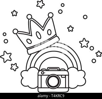 camera and crown with rainbow icon cartoon black and white vector illustration graphic design - Stock Image