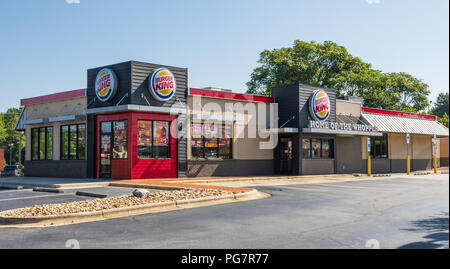 LENOIR, NC, USA-23 AUG 2018: Burger King restaurant, one of a global chain founded in 1953. - Stock Image
