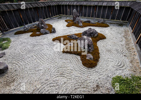 Kyokutou-tei Garden at Ogura-tei Residence was created in 1951 by Shigemori Mirei and with his craftspeople they created it in just a few days. Three  - Stock Image