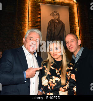 Manchester, UK. 31st January, 2019. left Kevin Keegan MMU stident Morgan Allen who designed the Mural pictured behind her and Mark Hamburger owner and creator of the Yard, Stangeways Credit: Della Batchelor/Alamy Live News - Stock Image