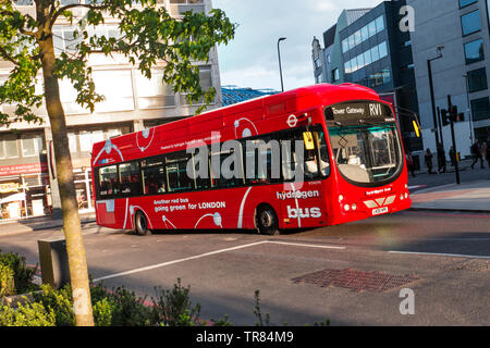 Zero emissions Hydrogen London Red Bus, green, pollution free, TFL Transport For London Bus Travel network. RV1 Tower Gateway Waterloo London SE1 - Stock Image
