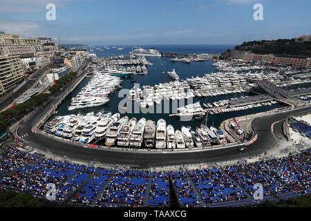 Mercedes' Lewis Hamilton passing the Tabac and Louis Chiron corners around Monaco Harbour during second practice at the Circuit de Monaco, Monaco. - Stock Image
