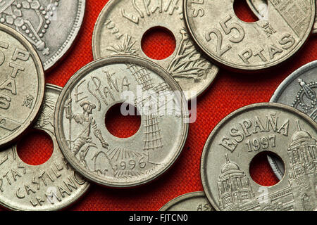 Coins of Spain. Don Quixote and Windmill depicted in the Spanish 25 peseta coin (1996) dedicated to Castilla-La - Stock Image