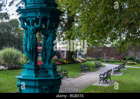 Ornate Wallace Water Fountain in Castle Gardens, Lisburn, N.Ireland. - Stock Image