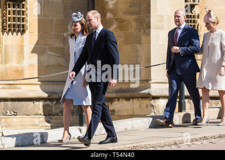 Windsor, UK. 21st April 2019. The Duke and Duchess of Cambridge and Mike and Zara Tindall arrive to attend the Easter Sunday Mattins service at St George's Chapel in Windsor Castle. Credit: Mark Kerrison/Alamy Live News - Stock Image