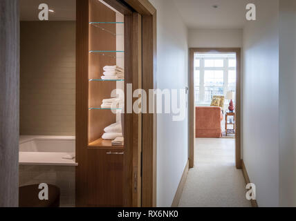 Home Hallway Showing Bath And Living Area - Stock Image