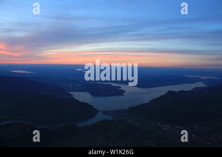 Sunset view from Mount Stanserhorn, Switzerland. - Stock Image
