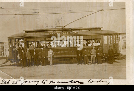 Tourists from Denver, Colorado, USA, going to the Marston Foothills on a chartered streetcar. - Stock Image