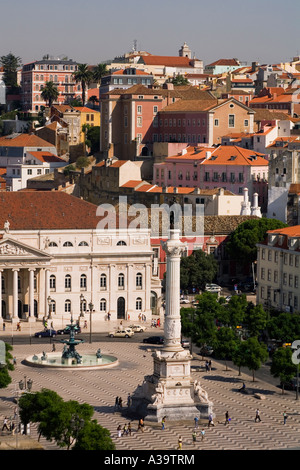Lisbon Portugal View from Elevator Santa Justa towords Rossio square - Stock Image
