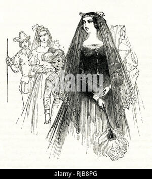 Illustration by Kenny Meadows to Twelfth Night, by William Shakespeare. Olivia, dressed in mourning for her brother, appears, together with her entourage. - Stock Image