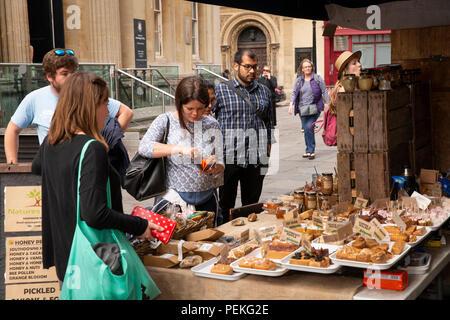 UK, England, Bristol, Corn Street, St Nicholas Market, honey-made cake stall - Stock Image