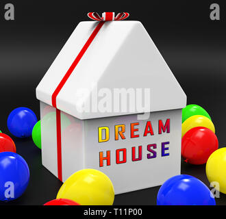 Dreamhouse Icon Means Finding Your Dream House Or Apartment. Imagine Ideal Living Luxury Property - 3d Illustration - Stock Image