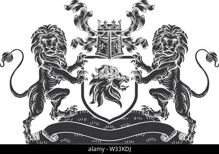 Lion Heraldic Crest Coat of Arms Shield Emblem - Stock Image