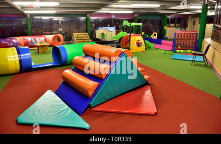 Children's soft toy play and indoor activity area for babies or toddlers - Stock Image