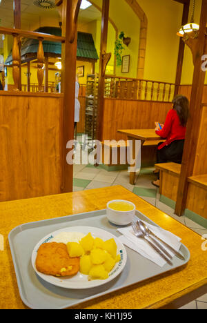 Traditional vegetarian meal of fried cheese and boiled potatoes, Havelska koruna, self-service restaurant, old town, - Stock Image
