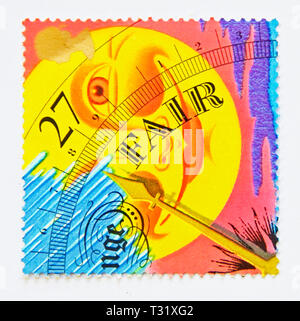 Postage stamp. Great Britain. Queen Elizabeth II. 27p stamp from 2001 Miniature Sheet MS2201 'Weather'. - Stock Image