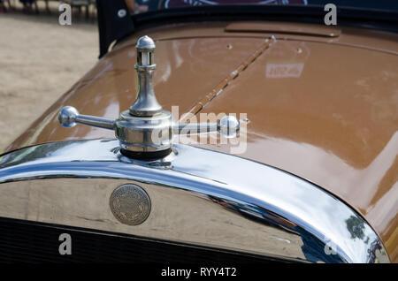 Radiator cap and badge 1927 Dodge 3.7 liter, 4 cylinder,24.8 hp cabriolet car on display near Tamworth Australia. - Stock Image
