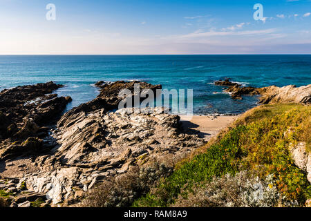 Calm waters at Fistral Beach, Newquay, Cornwall, UK - Stock Image
