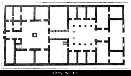 Floor plan of the Greek house, ,  (cultural history book, 1875) - Stock Image