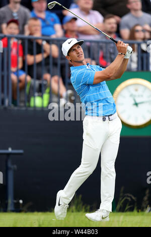 Portrush, County Antrim, Northern Ireland. 19th July 2019. The 148th Open Golf Championship, Royal Portrush, Round Two ; Thorbjorn Oleson (DEN) follows the flight of his tee shot at the par three 13th hole Credit: Action Plus Sports Images/Alamy Live News - Stock Image