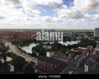 High Angle View Of City Against Cloudy Sky - Stock Image