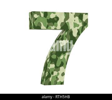 3D rendering Camouflage number 7 seven. 3D render Illustration. - Stock Image