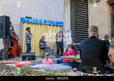Musical performance at The Hideout Chicago Riverwalk. - Stock Image