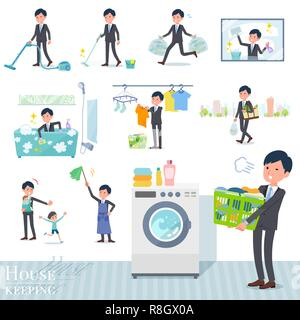A set of businessman related to housekeeping such as cleaning and laundry.There are various actions such as child rearing.It's vector art so it's easy - Stock Image