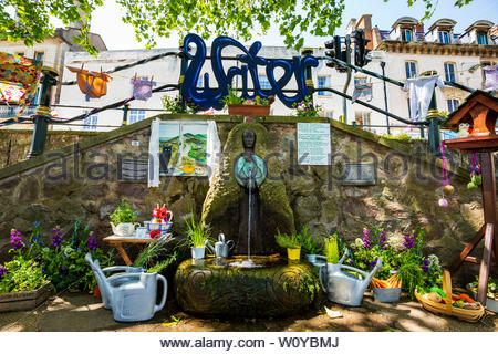 The dressed Malvhina Spout at Great Malvern on Belle Vue Island, Worcestershire, England - Stock Image
