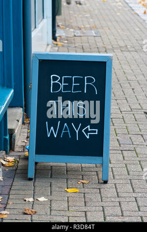 Beer This Way Sign - Stock Image