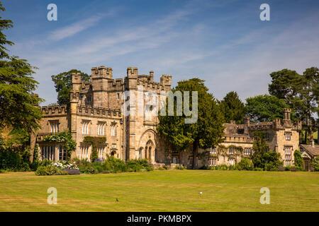 UK, Yorkshire, Wharfedale, Bolton Abbey, Bolton Hall, originally Priory gatehouse - Stock Image