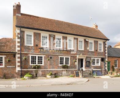The Antelope Inn traditional village pub, Upavon, Wiltshire, England, UK - Stock Image