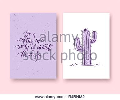 Be a cactus in a world of delicate flowers. Set of two cards - Stock Image