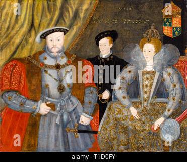 Henry VIII, Elizabeth I, and Edward VI, family group portrait painting, 1597 - Stock Image