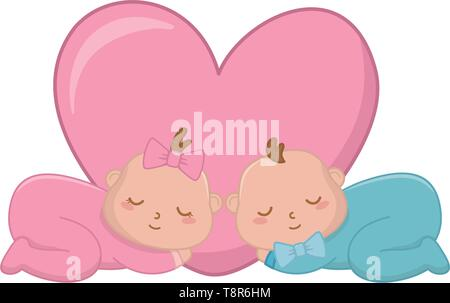 babys sleeping with heart and bows vector illustration graphic design - Stock Image