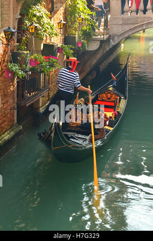 Gondola in the canal in Venice,Italy,in summer - Stock Image