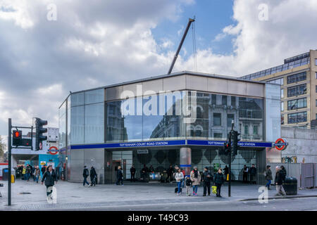 Recently refurbished Tottenham Court Road tube station at junction of Oxford Street & Charing Cross Road. - Stock Image