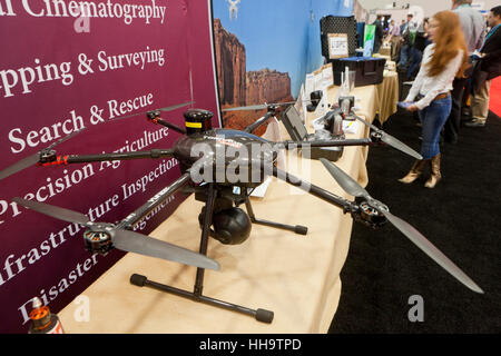 Video drone at a technology expo - USA - Stock Image