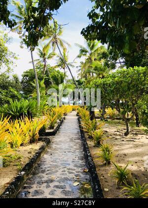 The path to the beach. Tavarua island resort, Fiji. - Stock Image