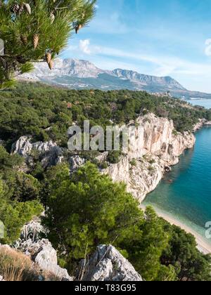 Hidden beach and beautiful nature on Adriatic sea coast in Croatia - Stock Image